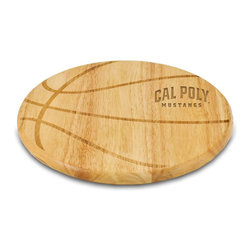 """Picnic Time - Cal Poly Free Throw Cutting Board - The Free Throw cutting board is a 12"""" round x 0.75"""" board made of eco-friendly rubberwood in a basketball design, with 104 square inches of cutting surface. It can be used as a cutting board or serving tray, or use both sides of the board, one for cutting and the other for serving. The backside of the board has is blank, with no design. Score with your guests when you show them your Free Throw! (Point of sale Cutting Board Display Rack (899-00-505) available. See item for details.); College Name: Cal Poly; Mascot: Mustangs; Decoration: Laser Engraving"""