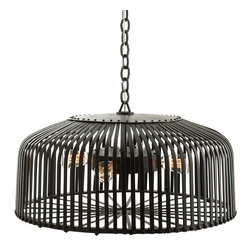 Arteriors - Carasel Chandelier - Here's a strong ceiling centerpiece for your favorite setting. Designer Barry Dixon crafts a bold iron cage, through which four lights cast their glow for a noble, masculine vibe.