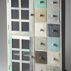 Butler - Artifacts 31.5 in. Accent Chest - Handcrafted. Hand finished in a whimsical profusion of pastels. Abundant storage behind top two drawers and four doors on the bottom right and left sides. Made from mango hardwood solids. Made in India. 31.5 in. W x 13.75 in. D x 53 in. H (181 lbs.)