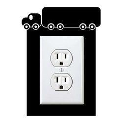 StickONmania - Outlet Truck Sticker - a vinyl decal sticker to decorate a wall outlet.  Decorate your home with original vinyl decals made to order in our shop located in the USA. We only use the best equipment and materials to guarantee the everlasting quality of each vinyl sticker. Our original wall art design stickers are easy to apply on most flat surfaces, including slightly textured walls, windows, mirrors, or any smooth surface. Some wall decals may come in multiple pieces due to the size of the design, different sizes of most of our vinyl stickers are available, please message us for a quote. Interior wall decor stickers come with a MATTE finish that is easier to remove from painted surfaces but Exterior stickers for cars,  bathrooms and refrigerators come with a stickier GLOSSY finish that can also be used for exterior purposes. We DO NOT recommend using glossy finish stickers on walls. All of our Vinyl wall decals are removable but not re-positionable, simply peel and stick, no glue or chemicals needed. Our decals always come with instructions and if you order from Houzz we will always add a small thank you gift.