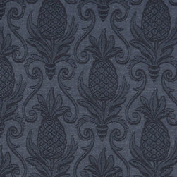 Blue Pineapples Woven Matelasse Upholstery Grade Fabric By The Yard - This material is great for indoor upholstery applications. This Matelasse is rated heavy duty, and is upholstery weight. It is woven for enhanced appearance.