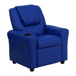 Flash Furniture - Contemporary Blue Vinyl Kids Recliner with Cup Holder and Headrest - Kids will now be able to enjoy the comfort that adults experience with a comfortable recliner that was made just for them! This chair features a strong wood frame with soft foam and then enveloped in durable vinyl upholstery for your active child. Choose from an array of colors that will best suit your child's personality or bedroom. This petite sized recliner is highlighted with a cup holder in the arm to rest their drink during their favorite show or while reading a book.