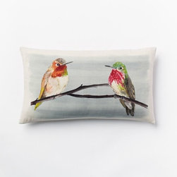 Jewel Bird Silk Pillow Cover - Not only is this pillow fun and girly, but it also helps make the space more playful. It can also act as art.