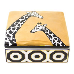 "Jonathan Adler - Jonathan Adler Animalia Giraffe Trinket Box - Final Sale - Jonathan Adler's Animalia trinket box offers tabletops sleek graphic style. A lustrous gold finish and striking black and white giraffe sketches lend the accessory visual intrigue. 5""W x 5""D x 2""H; High-fired white porcelain; Hand-applied gold finish; Removable lid"