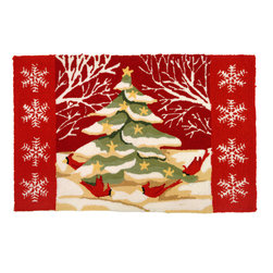 Homefires - Christmas Tree In White Forest Rug - It's a cardinal rule for winter decorating: Keep it bright. This cheerful rug incorporates brilliant reds and snowy white in a charming winter scene. Best of all, it's machine washable, so even if you place it by the door, the season's darker elements won't mar the landscape.