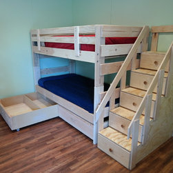 Stackable bunk beds with storage drawers and staircase -