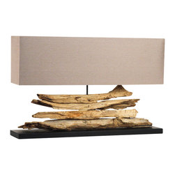 Zentique - Rustique Riverine - If you're drawn to creative repurposing, this table lamp belongs in your favorite setting. Elegantly weathered driftwood contrasts beautifully with the sleek rectangular shade for an effect that's both soothing and stirring.