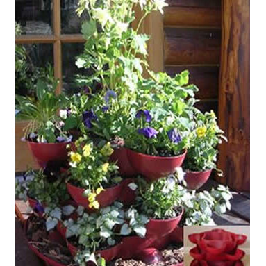 Patio / Deck Garden Planter with Flower Arrangement - Incredible indoor / outdoor stackable garden planter with a wheeled base. Just stack & grow. Grow herbs, flowers, house plants, cactus garden, more. Made in the USA. Durable, UV resistant material. 5 colors.