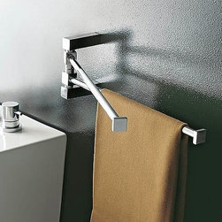 Toscanaluce - 14 Inch Polished Chrome Swivel Towel Bar - Stylish, contemporary design double swivel towel bar. Double swivel towel holder is made out of brass with a polished chrome finish. Square double swivel towel bar mounts easily to the bathroom wall with screws. Made in Italy by Toscanaluce. Stylish, contemporary style double swivel towel holder. Double swivel towel bar is made out of brass with a polished chrome finish. Square double swivel towel holder mounts easily to the bathroom wall with screws. From the Toscanaluce Eden Collection.