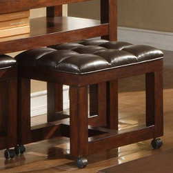 Alpine Furniture - Tiburon Mini Faux Leather Ottoman For Use with End & Sofa Table - Tiburon Mini Faux Leather Ottoman For Use with End & Sofa Table