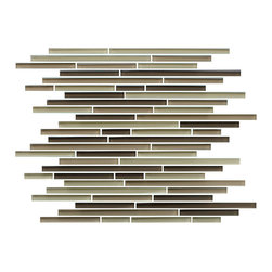 """Rocky Point Tile - 4"""" x 6"""" Sample - Baja Fine Lines Random Strip Glass Mosaic Tiles - Brown has never looked better. Chocolate caramel and cream mix together in strip glass tiles that add a delicious twist to your kitchen. Install as a backsplash to complement a wide variety of wood finish cabinetry and countertops and bring instant warmth and character to your kitchen."""