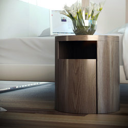 Mulberry Nightstand - The Mulberry round nightstand features a single drawer and upper shelf. Available in wenge or walnut finishes. Also available in white lacquer finish. Imported.