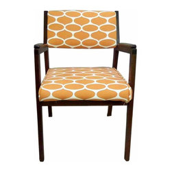 """Walnut Arm Chair - This 1960s danish modern chair is the perfect complement for your mid-century """"Mad Men"""" office, bedroom, or living room. The graphic orange and cream fabric brings that bold 1960s feel into a more contemporary era. The chair was recently reupholstered in this fabric."""