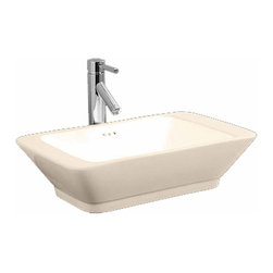 Renovators Supply - Vessel Sinks White Square Tenor Rectangular Vessel Sink | 17769 - Sink Square, Vessel Sinks Above Counter: Made of Grade A vitreous China these sinks endure daily wear and tear. Our protective RENO-GLOSS finish resists common household stains and makes it an EASY CLEAN wipe-off surface. Ergonomic and elegant easy reach design reduces daily strain placed on your body. SPACE-SAVING design maximizes limited bathroom space. Easy, above counter installation let's you select from many faucet styles and countertop designs, sold separately. Measures 22 inch W.
