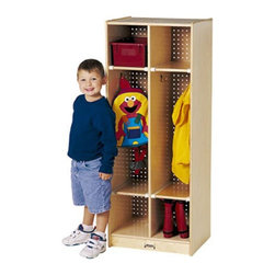 Jonti-Craft - Jonti-Craft Double Locker Wooden Standing Coat Rack - 2682JC - Shop for Childrens Lockers from Hayneedle.com! Make a great addition to your day care or school with the Double Locker Coat Rack. It features three levels of storage space with two sections. Each section has two double coat hooks on either side to hang little jackets coats and scarves while the upper and lower cubbies can be used to keep children's books toys hats or shoes. Safely and solidly made from wood with pegboard backing this double coat rack uses lead-free non-toxic paints. About Jonti-CraftFamily-owned and operated out of Wabasso Minn. Jonti-Craft is a leading provider of quality furniture for the early learning market. They offer a wide selection of creatively designed products in both wood and laminate materials. Their products are packed with features that make them safe functional and affordable. Jonti-Craft products are built using the strongest construction techniques available to ensure that your furniture purchase will last a lifetime.