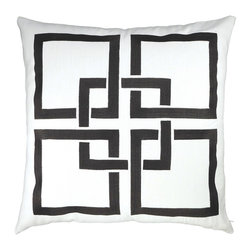"NECTARmodern - Linked Squares embroidered throw pillow 20"" x 20"" - Our linked-square pillow provides a pattern punch that's perfect for modern as well as transitional homes. White linen with charcoal black embroidery. Solid medium gray back. Designer quality cover with overstuffed feather/down insert."