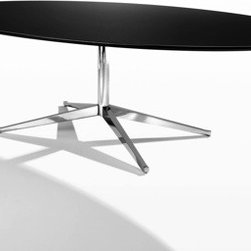 Florence Knoll Table Desk - Watch much Mad Men? Florence Knoll was widely responsible for the sixties office aesthetic that continues on today. Her versatile table desk is no exception. Available in two sizes of ovals or as a round table.
