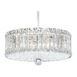 Schonbek - Plaza Stainless Steel Nine-Light Clear Spectra Crystal, 14.5W x 6.5H x 14.5D - -Spectra Crystal: Spectra Crystal is cut Swarovski crystal with reliable quality. Spectra Crystal has been a registered trademark since 1999 and offers the most important cuts in clear crystal.  - Plaza, with its dense and intricate crystal weave, is infinitely brilliant. Square, rectangular and octagonal crystals create a mesmerizing dance of light.  -Clear Spectra Crystal  - Lead Free Crystal  -Cable Length - 144  -Wire Length - 144 - Hanging weight - 8 lbs  - Bulbs Included  -Uses standard line volt dimmer  - Some assembly required  - For shipping outside of USA, please contact Bellacor customer service  - Every Schonbek� product is of heirloom quality and will last for generations. To ensure it retains its brilliance and splendor for years to come, proper care and regular cleaning are necessary. It is recommended that Schonbek products, and particularly their crystal trim, be lightly dusted with a feather or lambswool duster, or soft brush every two months, or whenever it appears dull or dusty. Consult the fixtures trim diagram for detailed cleaning instructions list of approved cleaning solutions. Schonbeck fixtures should never be subjected to any chemical cleaning agents. See packaging insert for warranty information  Schonbek  - 6670A
