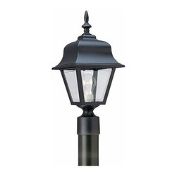 Sea Gull Lighting - 1-Light Post Lantern Black - 8255-12 Sea Gull Lighting Polycarbonate 1-Light Outdoor Post Lantern with a Black Finish