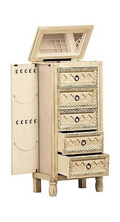 Sears Home - Abby Abby Jewelry Armoire - TheAbby antiqued jewelry armoireis a lovely artisan-painted standing jewel box tower that stores all your favorite baubles beautifully.