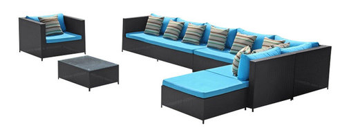 Fine Mod Imports - Garden Outdoor Sectional Set with Blue Cushions - Features: