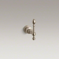 KOHLER - KOHLER IV Georges Brass(R) robe hook - Inspired by 18th-century English designs, IV Georges Brass accessories portray a traditional Georgian style that enhances any bath environment with elegant details. This robe hook, constructed of sturdy brass, features an ornate lever design accented with an end and stem piece.