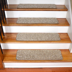 "Dean Flooring Company - Dean Non-Slip Pet Friendly DIY Carpet Stair Treads 30""x9"" (15) - Parchment Beige - Quality stylish ultra premium stair gripper non slip carpet stair treads by Dean Flooring Company. Extend the life of your high traffic hardwood stairs. Reduce slips/increase traction. Cut down on track-in dirt. Great for pets and pet owners. Made in the USA from quality, long lasting stain resistant carpeting with non-slip padded foam backing. Stands up great to high traffic. A fresh new look for your staircase. Do-it-yourself installation is quick and easy with our unique non-slip backing. Simply place your stair tread rugs on your staircase and go. No tapes, adhesives, staples, glue, or Velcro needed. And rest assured, they won't move and they won't damage your hardwood either. They are also simple and easy to remove as well with no sticky residue left behind. Each tread is finished on all four sides with attractive color matching yarn. No bulky fastening strips. You may remove your treads for cleaning and re-attach them when you are done. Add a touch of warmth and style to your stairs today with new stair treads from Dean Flooring Company! We make our own stair treads at Dean Flooring Company and our products are not available from anyone else."