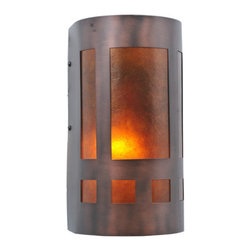 "Meyda Tiffany - Meyda 5""W Van Erp Amber Mica Wall Sconce - Amber Mica panels, created in the same method of combining translucent mica with shellac utilized by Dirk Van Erp in 1910, are suspended in a Mahogany Bronze finished mission style frame."