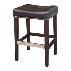 Four Hands - Sean Counterstool With  Kickplate - You may get no kick from champagne, but you will get a kick out of this stool. With a softly cradled top made of bicast leather and nailhead trim, it features a metal kickplate for those nights when your dancing shoes want to tap like a Cole Porter musical.