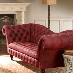 """Horchow - Berry Leather Recamier Sofa - Exclusively ours. Relax in luxury on this stunning tufted leather sofa. Rolled arms and nailhead trim add to its appeal. Rubberwood frame. 90""""W x 35""""D x 33""""T. Imported. Boxed weight, approximately 175 lbs. Please note that this item may requi..."""