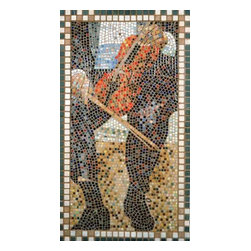 "The Violinist Mosaic Art - I use the ancient medium of mosaic to capture 21st century imagery. The Violinist is created from micro mosaic tile (3/8"") and framed in marble. 40"" x 22.5"" in dimension, the Violinist is made entirely by me in my studio, and ready to hang."