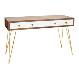 Worlds Away - Worlds Away Brent Console Desk with Gold Hairpin Legs - Worlds Away Brent Console with Gold Hairpin Legs