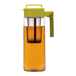Takeya 64-Ounce Iced Tea Maker with Silicone Handle, Avocado/Olive - The Takeya pitcher is a beautiful piece. The strainer within the base makes brewing my cold barley tea even simpler.