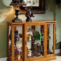 Pulaski - 33 in. Console Curio Cabinet - V-grooved front glass