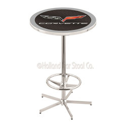 Holland Bar Stool - Holland Bar Stool L216 - 42 Inch Chrome Corvette - C6 Black Pub Table W/ Silver - L216 - 42 Inch Chrome Corvette - C6 Black Pub Table W/ Silver Accent  belongs to General Motors Collection by Holland Bar Stool Made for the ultimate Corvette - C6 enthusiast, impress your buddies with this knockout from Holland Bar Stool. This L216 Corvette - C6 table with retro inspried base provides a quality piece to for your Man Cave. You can't find a higher quality logo table on the market. The plating grade steel used to build the frame ensures it will withstand the abuse of the rowdiest of friends for years to come. The structure is triple chrome plated to ensure a rich, sleek, long lasting finish. If you're finishing your bar or game room, do it right with a table from Holland Bar Stool.  Pub Table (1)