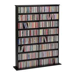Prepac - Prepac Black Double Media Tower (Holds 650 CDs) - Store any combination of media with the library-style double width wall storage. This unit's adjustable shelves, separated by a central divider, mean it's easy for you to customize according to your collection's needs. It's also easy to sort and fill your media, thanks to the horizontal storage. Flexible and capable, this popular unit has you covered for media storage.