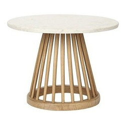 Tom Dixon - Tom Dixon | Fan Table with Screw Table Top - Small - Design by Tom Dixon, 2013. Tom Dixon's sculptural interpretation of the traditional British Windsor Chair forms from pedestal base of the fetching Fan Table Small. The base features spindles fanned around a circular footing in machined birch or oak wood. Available in Black Birch or Natural Oak with a circular marble table top. The Fan Table easily pairs with the collection's Fan Dining Chair or Fan Stool.