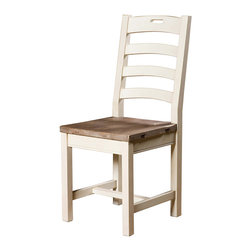 Cottage Ladder Back Dining Chair-White - Inspired by the southwest coast of England, where the winding cobbled streets, color-washed cottages, and unspoiled beaches combine with picturesque tranquility. Our Cottage Ladder Back Dining Chair is bench-built and hand finished in sundried ash and contrasted with stucco white,using only reclaimed and CERTIFIED solid wood, resulting in an authentic rustic appearance.