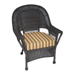 Trade Wind Treasures - Lake Living Outdoor Lounge Chair - Includes standard outdoor seat cushion and back cushion. All weather dining chair. Welded aluminum frame. Covered in hand woven UV protected extruded vinyl. Outside Width: 31 in.. Inside arms: 21 in.. Seat Size: 21 in. L x 20 in. W. Warranty
