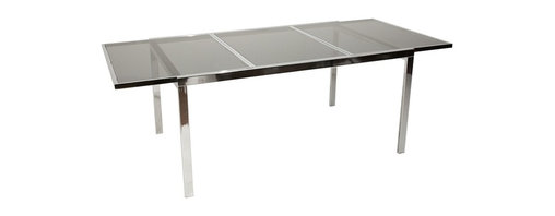 Unknown - Consigned Mid Century Modern Chrome Glass Extension Dining Table - • Mid Century Modern
