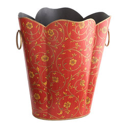 Floral Tole Wastebasket - Looking for a fun piece for your home? Perhaps a boost of color in your office space? This handmade and handpainted waste bin is beautiful for any room, and its size fits perfectly under most table spaces. Since it is handmade, each has slight variations in shape and design.