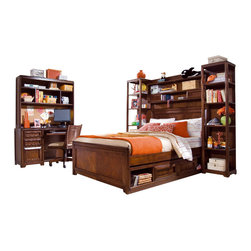 "Lea Industries - Lea Elite Expressions 8-Piece Panel Kids' Bedroom Set in Rootbeer Color - Lea Elite Expressions is a very contemporary style with simple design influences that accentuate any setting. The finish is a rich ""root beer"" color finish with matched Cherry veneers on case tops and beds, adding to the design of the high end contemporary style. Heavy drawer frames not only add weight, but act as handles to open drawers and help create a clean look to Expressions. Multiple unique sleep options and storage possibilities add style and function. Expressions is a versatile group that offers a lasting style that works for youth, teen and even smaller master bedroom settings."