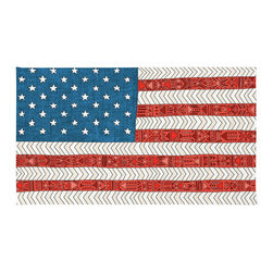 "Contemporary US Flag Rug, 36x24 - Using 100% woven polyester, these premium quality area rugs boast an exceptionally soft touch and high durability. Available in three versatile sizes (36""x24"", 60""x36"", 72""x48"") they are the perfect accent to any room in your home, featuring thousands of designs from your favorite artists on a subtle chevron pattern. Machine washable; non-skid pad not included."