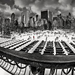 Skating In Central Park - Black and White photograph of Wollman Ice Skating Rink after the blizzard of 2013 in Central Park located in East Side of New York City,