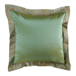 "Brandi Renee Design - Two-Tone Faux Silk with Crushed Border Pillow 18"" Square, Green - Our modern faux silk two tone pillow is designed with vibrant cheery and golden accents. The border around this pillow gives it a luscious iridescent glow complementing the hues. Available in colors Butterscotch, Burgundy, Ecru, Ivory, Copper, Bronze, Green & Pistachio."