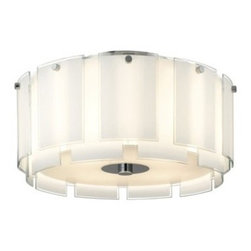 """Sonneman - Sonneman Velo 22"""" Semi Flush Ceiling Light - The Velo 22 Semi Flush Ceiling Light by Sonneman has been designed by Robert Sonneman. The Velo 22 Semi Flush Ceiling Light is a layered veil of luminous glass that radiates Hollywood glamour. Each of its white enameled glass panels is defined by crystal clear edges that add just a touch of sparkle and definition. Featured in polished chrome and a shade of white glass with clear edges.  Product description:   The Velo 22 Semi Flush Ceiling Light by Sonneman has been designed by Robert Sonneman. The Velo 22 Semi Flush Ceiling Light is a layered veil of luminous glass that radiates Hollywood glamour. Each of its white enameled glass panels is defined by crystal clear edges that add just a touch of sparkle and definition. Featured in polished chrome and a shade of white glass with clear edges.  Details:      Manufacturer:     Sonneman      Designer:    Robert Sonneman        Made in:    USA        Dimensions:     Shade:Height:10"""" (25.4 cm) X Diameter:22"""" (55.88 cm) X    Canopy Diameter:7"""" (17.78 cm) Overall:Height:12"""" (30.48 cm) X Diameter:23"""" (58.42 cm)      Light bulb:     4 X A19 Medium Base Max 75W Incandescent (not included)        Material:     Glass"""