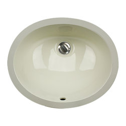 "Nantucket Sinks - Nantucket Sink UM-15x12-B Ceramic Lavatory Sink - Nantucket Sinks UM-15x12-B - 15"" x 12"" Undermount Ceramic Oval Bathroom Sink in Bisque. This sink has a 1.75"" drain diameter."