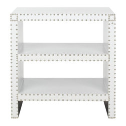 Safavieh - Lacey Side Table - White Croc - Three times the charm. The Lacey Side Table brings the functionality of three stylish shelves to a new level of sophistication. Covered with white crocodile patterned faux leather of sturdy polyurethane and crafted with nailhead detail, this traditional accent piece is refreshingly fashion-forward.
