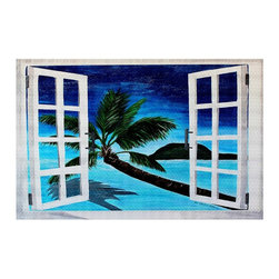 DiaNoche Designs - Area Rug by Martina Bleichner - Window To Paradise - Finish off your bedroom or living space with a woven Area Rug with Chevron pattern  from DiaNoche Designs. The last true accent in your home decor that really ties the room together. Maybe its a subtle rug for your entry way, or a conversation piece in your living area, your floor art will continue to dazzle for many years. 1/4 thick. Each rug is machine loomed, washed and pre-shrunk, printed, then hemmed on the edges.   Spot treat with warm water or professionally clean. Dye Sublimation printing adheres the ink to the material for long life and durability