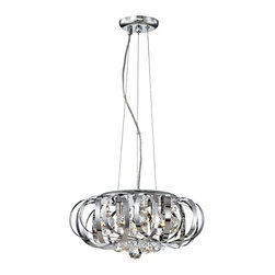 """Possini Euro Design - Steel Ribbons Modern Crystal 15"""" Wide Pendant Chandelier - Bring a powerful new style into your home with this incredible contemporary pendant chandelier. Its laser cut round stainless steel diffuser is a work of art unto itself adorned with glistening K9 crystal accents. Stainless steel diffuser and canopy. K9 crystal. 15"""" wide. 8"""" high. Includes three 60 watt G9 halogen bulb. Comes with 11 feet of wire. Canopy is 5"""" wide. Hang weight is 12 pounds.  Stainless steel diffuser and canopy.   Clear crystal.  Includes three 60 watt G9 halogen bulb.   15"""" wide.   8"""" high.   Comes with 11 feet of wire.   Canopy is 5"""" wide.   Hang weight is 12 pounds."""